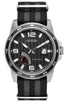 Citizen Eco-Drive Mens Black Dial Fabric Strap Watch AW7030-06E